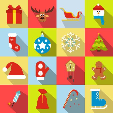 16: 16 christmas flat icons set. Multicolor symbols Illustration