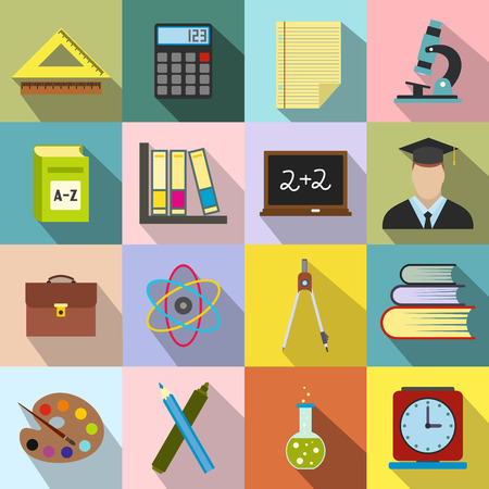 mathematics: Education flat icons set for web and mobile devices Illustration