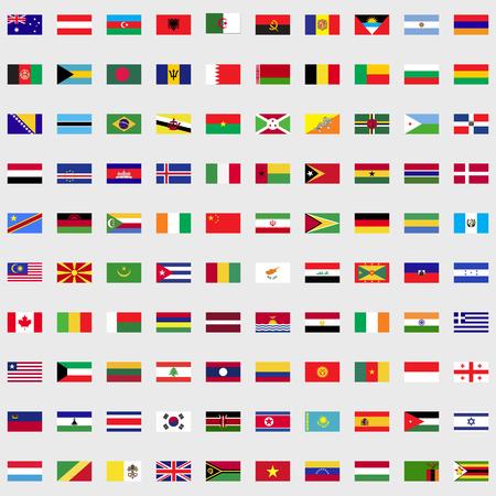 웹 및 모바일 장치 용으로 설정된 세계 국기 일러스트