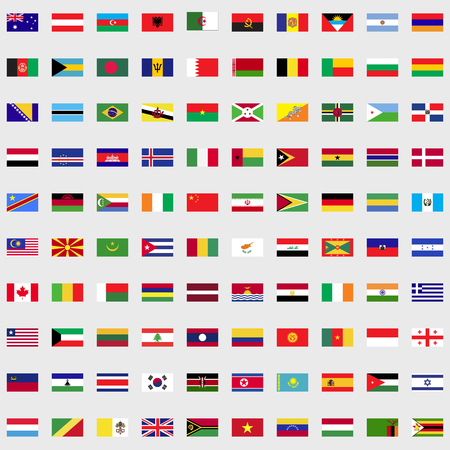 Flags of the world set for web and mobile devices Çizim