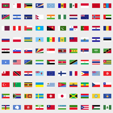 all european flags: New flags of the world set for web and mobile devices