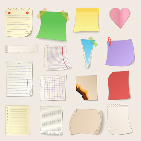 Different note papers and stickers set isolated on a white