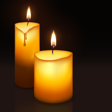 Two burning candles in cartoon style for web and mobile devices