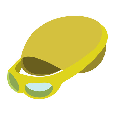 swimming cap: Swimming cap and goggles illustration. Cartoon symbols on a white background