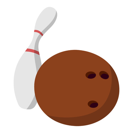 skittle: Bowling ball and a skittle illustration. Cartoon symbols on a white background Illustration