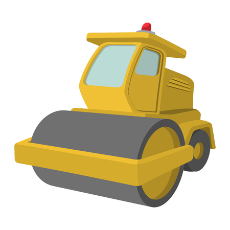 car loader: Yellow paver cartoon illustration. Single icon on a white background
