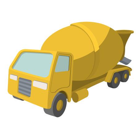 cartoon builder: Concrete mixer cartoon yellow symbol. Single icon on a white background