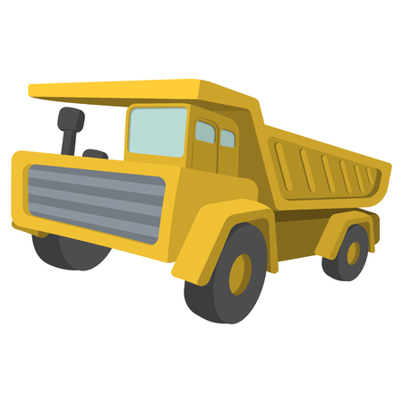drive car: Building truck. Tipper cartoon illustration. Single icon on a white background