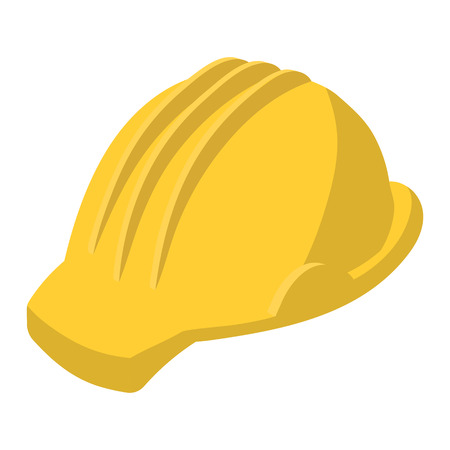 safety at work: Yellow safety helmet cartoon illustration. Single symbol on a white background