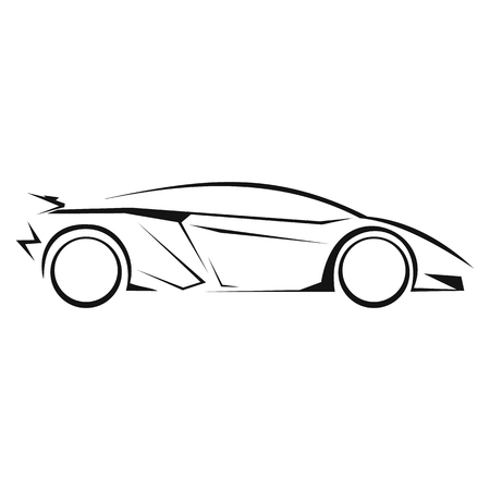 flown: New car silhouette line icon isolated on white background