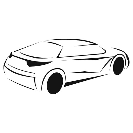 flown: New car silhouette icon isolated on white background Illustration