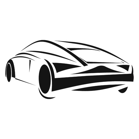 flown: New car line icon isolated on white background Illustration