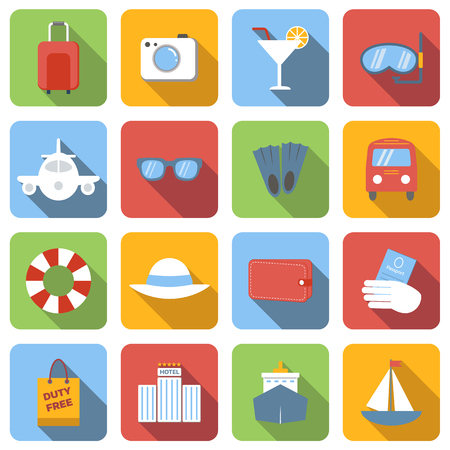 Travel flat icons set images with long shadow in square, on white background