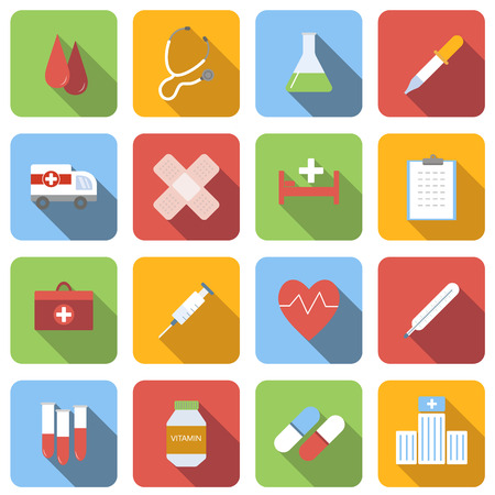 navigation aid: Medicine flat icons set images with long shadow in square, on white background