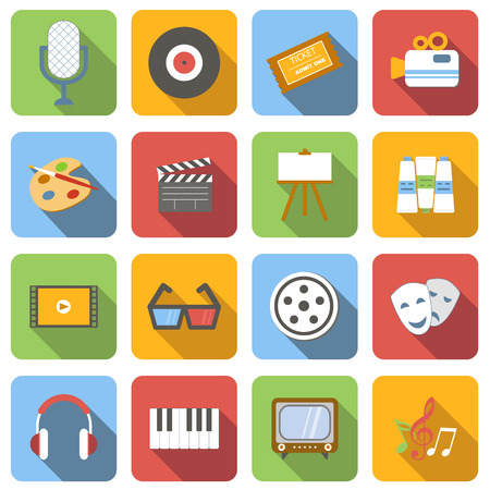 multimedia icons: Multimedia flat icons set images with long shadow in square, on white background