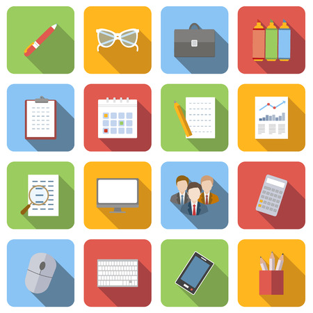 Business flat icons set images with long shadow in square, on white background