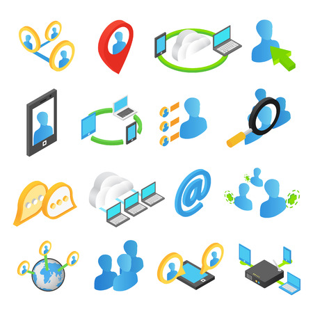 wireless internet: Internet isometric 3d icons set. Online chat web communication isolated on a white background