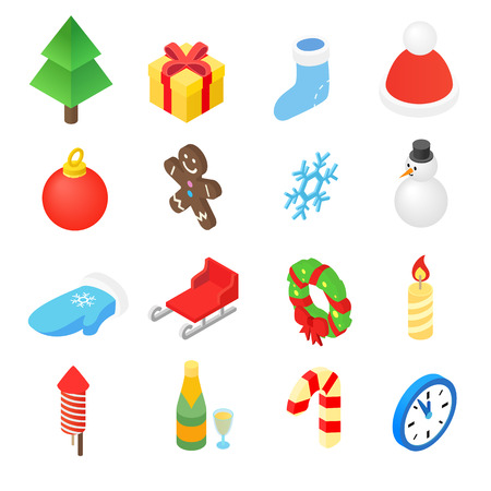 design icon: Christmas isometric 3d color icons set. 16 symbols on a white background Illustration