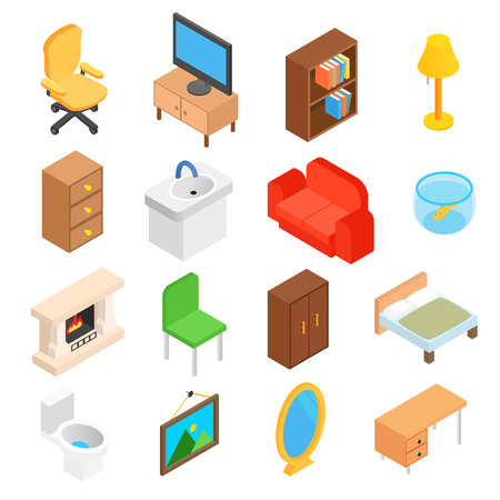wood furniture: Furniture for living room isometric 3d icons. 16 symbols on a white background