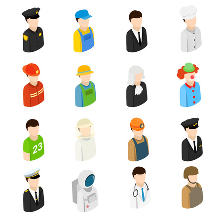 worker person: Isometric 3d men of 16 different professions. Colored set on a white background Illustration