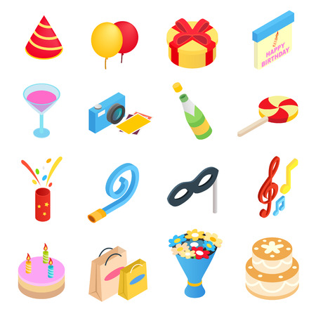 cartoon carnival: Birthday party isometric 3d icons set isolated on white background Illustration