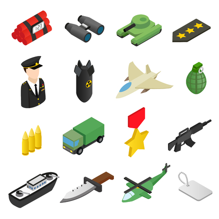 military aircraft: 16 weapon isometric 3d icons set.  Color illustrations with military truck helicopter and ship Illustration