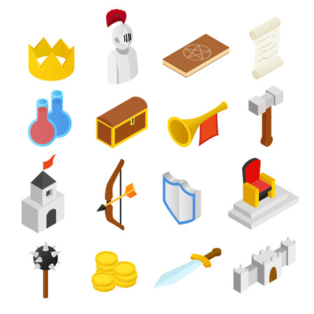 medieval: Medieval isometric 3d icons set isolated on white background Illustration