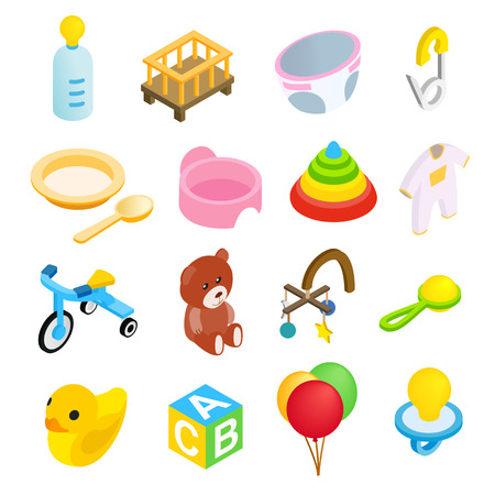 baby toy: Baby isometric 3d icon set isolated on white background Illustration