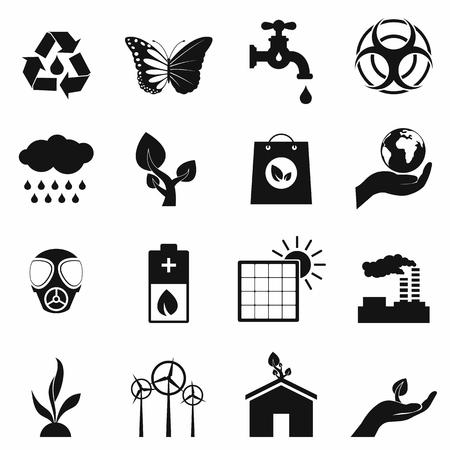 ecology: Universal ecology black icons set. 16 simple symbols isolated on a white