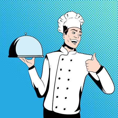 chef illustration: Chef cook holds a tray. Illustration in comics style