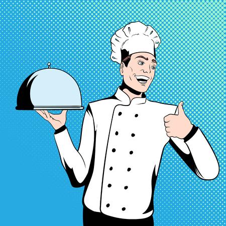 chef: Cocinero sostiene una bandeja. Ilustración de estilo cómic