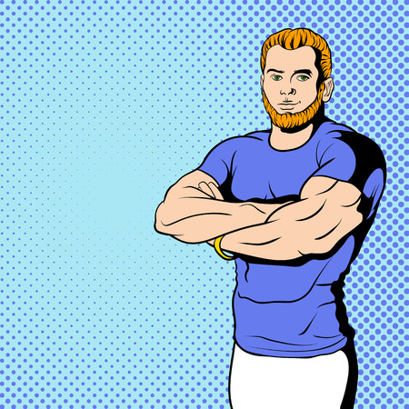 strengths: Fitness instructor in comics style for web and mobile devices