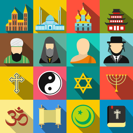jain: Religion flat icons set for web and mobile devices