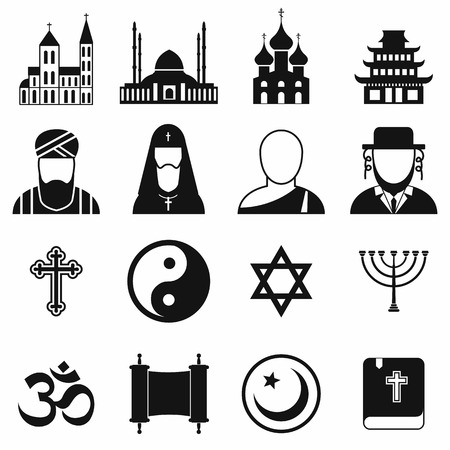 nirvana: Religion simple icons set for web and mobile devices