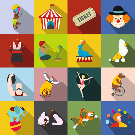silueta tigre: Circus flat icons set for web and mobile devices Vectores