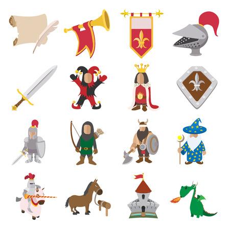 castello medievale: Icone medioevali dei cartoni animati fissati per i dispositivi web e mobile