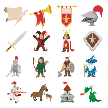 Mittelalterlichen Cartoon-Icons für Web und mobile Geräte eingestellt Standard-Bild - 48884111