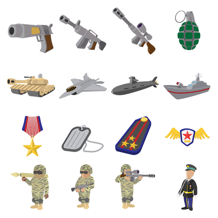 chaser: Military and war cartoon icons set isolated on white background Illustration