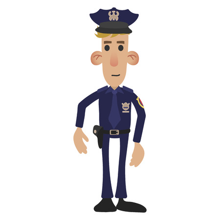 police cartoon: Police man in cartoon style isolated on white background Illustration