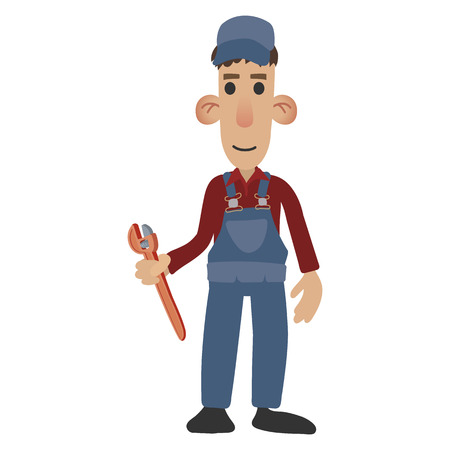 handyman: Cartoon plumber holding a wrench on white background Illustration