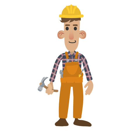 belt up: Construction worker in cartoon style isolated on white background Illustration