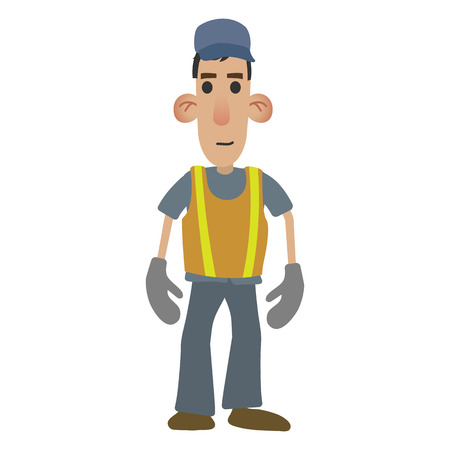 warning vest: Road worker in cartoon style isolated on white background