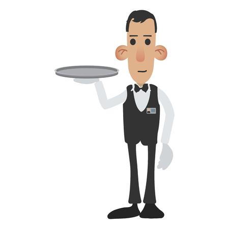 food tray: Waiter cartoon icon isolated on white background