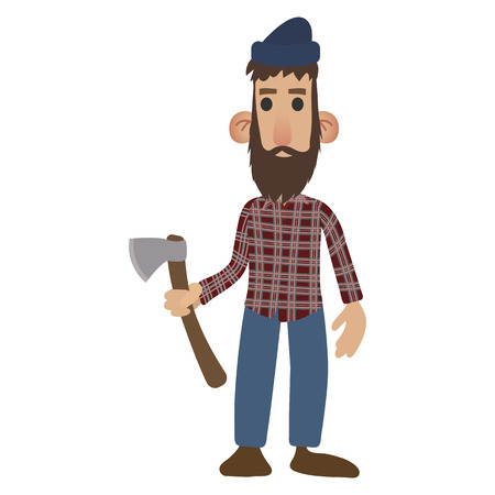lumberjack: Lumberjack cartoon icon isolated on white background