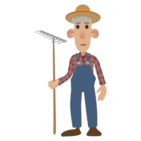 fat: Farmer cartoon icon isolated on white background