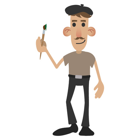 stereotypes: French painter in cartoon style isolated on white background