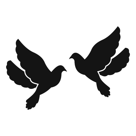 caress: Two doves simple icon isolated on white background