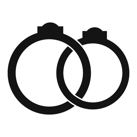rich couple: Wedding rings simple icon isolated on white background Illustration