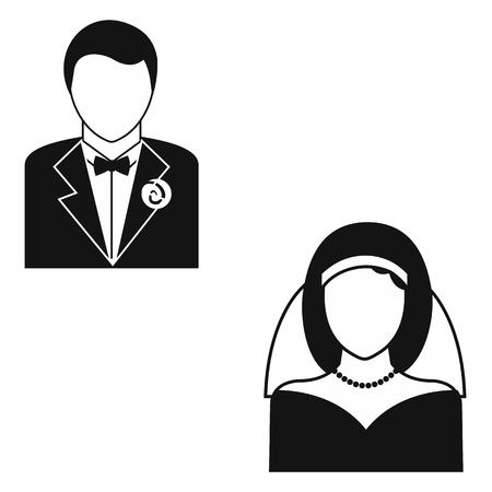 matrimonio feliz: Matrimonio simple icono aislado en fondo blanco