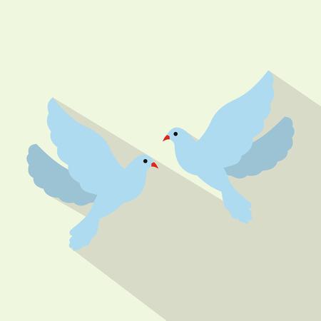 paloma: icono de dos palomas plana para web y dispositivos m�viles